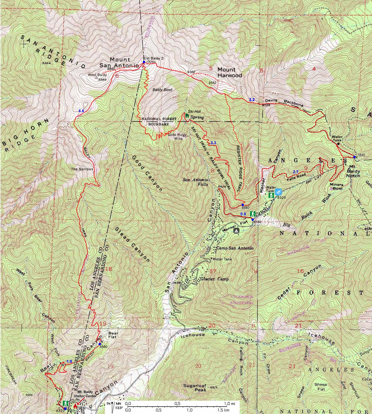 Dans Hiking Pages Ontario Peak - Where to get topo maps for hiking